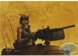 Ex-libris Offset, Golden City : Woman with machine gun