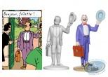Statuette résine, Tintin : Séraphin Lampion à la malette, Les bijoux de la Castafiore Page 42 + album