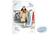 Aquarelle, Dan Cooper : Dan Cooper tenant la Queue d'un Avion (veste beige)