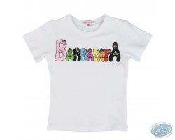 T-shirt manches courtes blanc Barbapapa pour enfant : taille 104/110, logo