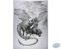 Guerrière chevauchant un dragon