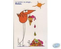 Carte publicitaire, Shadock pour Peugeot, 'Le soleil, la plage... Relax.'