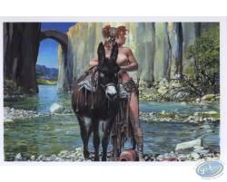 Cavalière seins nus dans la rivière