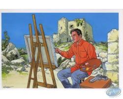 Peintre dans décor montagneux