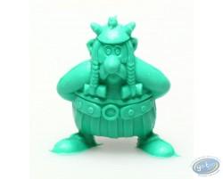 Mini Obélix les mains dans le dos pour porter le menhir (vert foncé)
