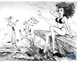 Natacha sur les rochers et mouettes