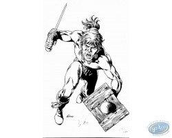 Guerrier avec épée et bouclier