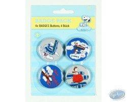 4 badges Snoopy dans les airs (2ème version)