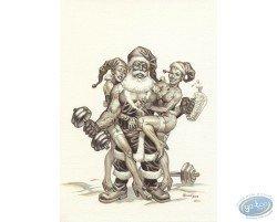 Père Noël culturiste n&b