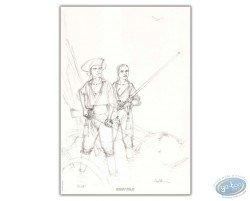 L'Epervier et Marion avec des fusils (crayonné)
