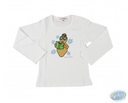 T-shirt manches longues blanc Barbapapa pour enfant : taille 116/122, livre