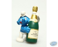 Schtroumpf avec une bouteille Happy Smurfday