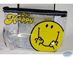 Trousse vinyle, Mr Happy (jaune/transparente)