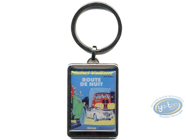 Keyring, Michel Vaillant : Silvered key ring : 'Route de nuit'