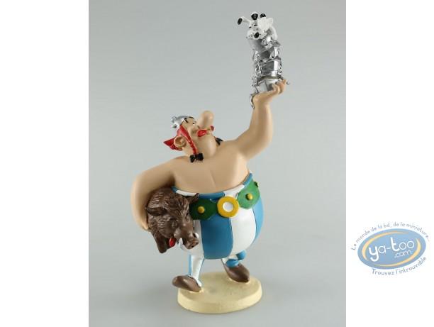 Resin Statuette, Astérix : Obélix holding helmets in his hand