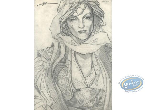 Bookplate Offset, 3ème Testament (Le) : Woman Portrait (sketch)
