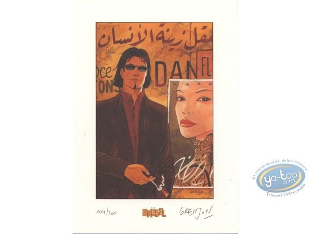Bookplate Offset, Niklos Koda : Grenson, Niklos Koda fumant devant une affiche