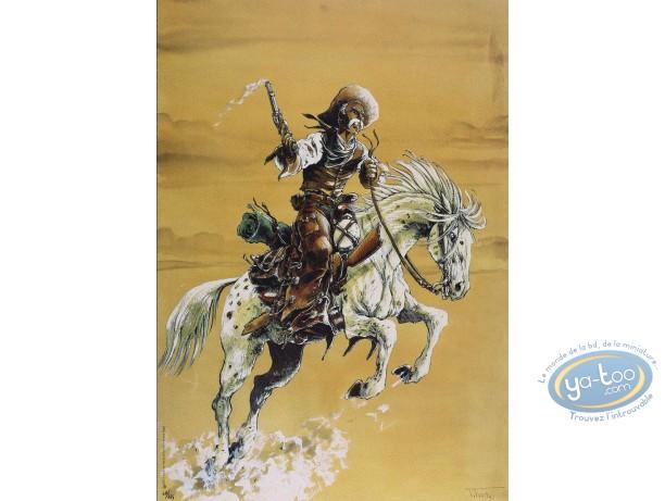 Offset Print, Piste des Ombres (La) : On Horse (yellow sky)