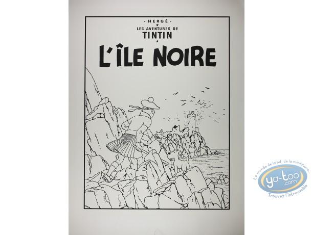 Serigraph Print, Tintin : The Black Island (nb) damaged