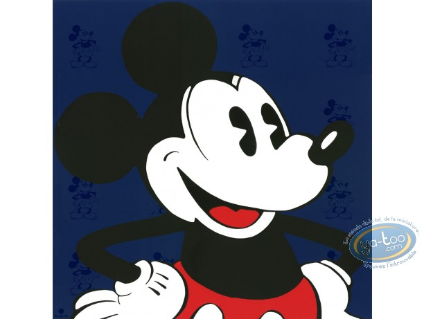 Serigraph Print, Mickey Mouse : Face (blue), Disney
