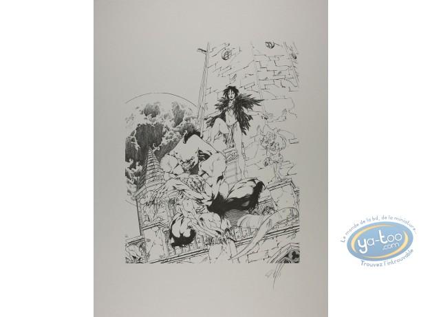 Offset Print, Garous : Civiello-Defali, Loup garou et prêtresse (n&b)