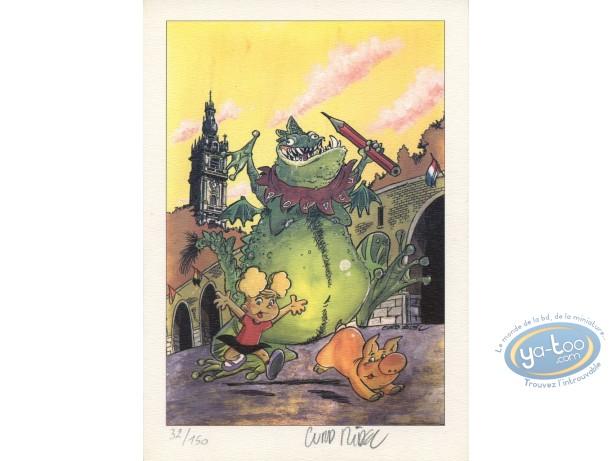 Bookplate Offset, Angèle et René : Green Monster