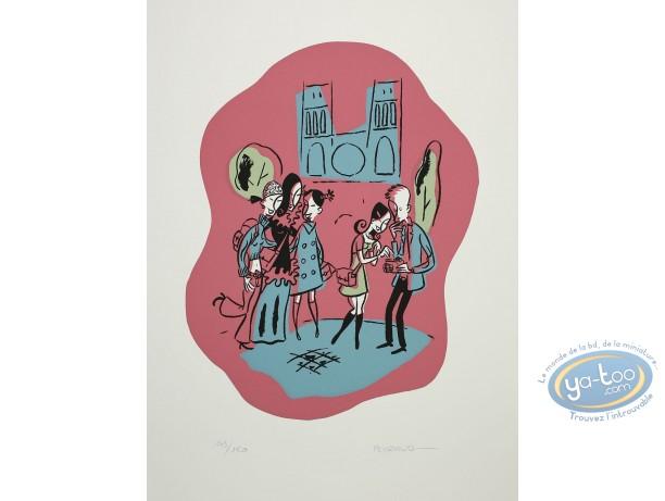 Serigraph Print, Premières Chaleurs : In the street