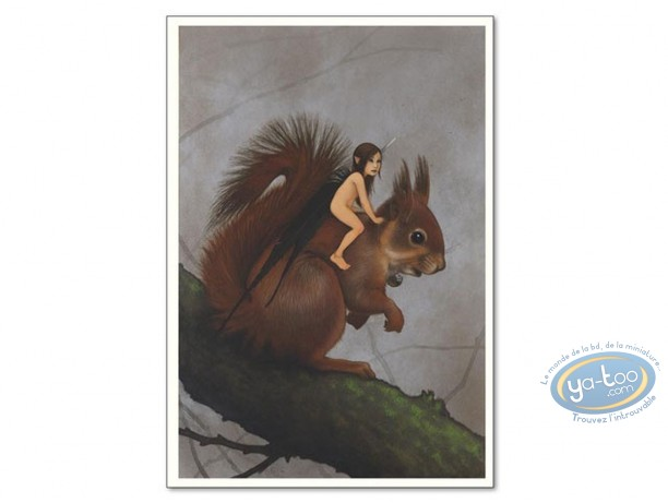 Offset Print, Féerie : Fairy on squirrel