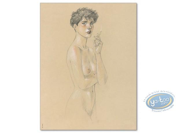 Offset Print, Cahier Bleu (Le) : Louise smoking (signed)