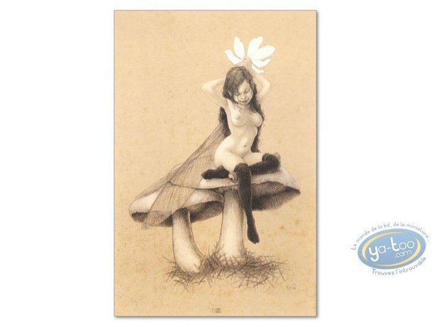 Offset Print, Féerie : Fairy on mushrooms