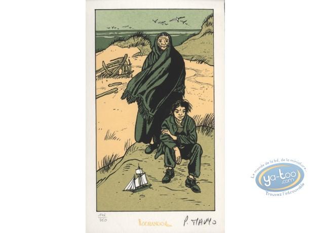 Bookplate Serigraph, Coeur en Islande (Le) : Moses sitting & Martha