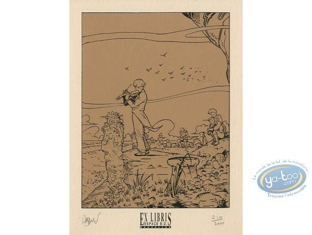 Bookplate Serigraph, Eaux de Mortelune (Les) : Violonist