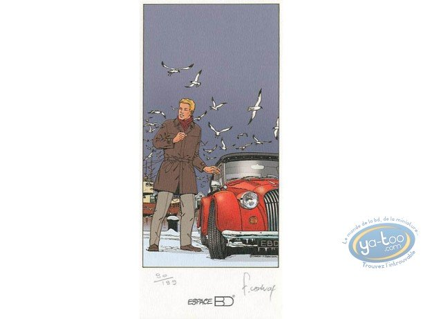 Bookplate Offset, Lefranc : Car on the beach