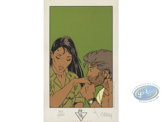 Bookplate Serigraph, Largo Winch : Hand Kissing