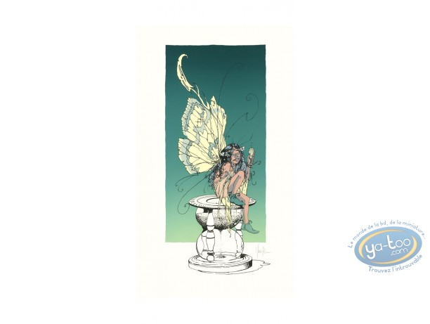 Serigraph Print, Fairy on Hourglass