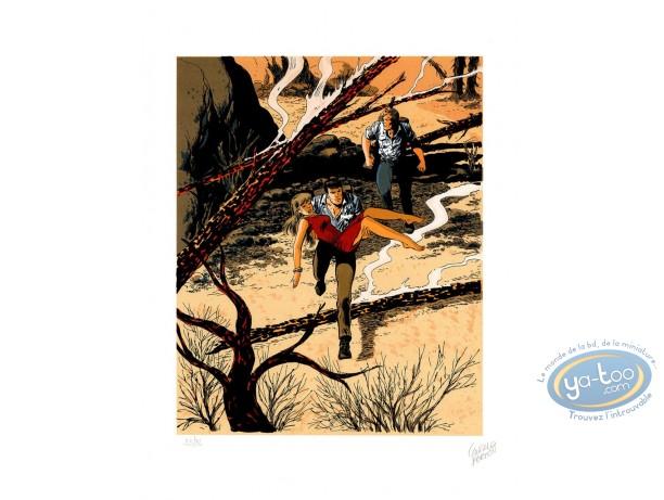 Serigraph Print, Bob Morane : The fire