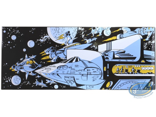 Enamelled plate, Valérian : Mézières, The Empire of a Thousand Planetes, Ships in Space. 20 COPIES ONLY