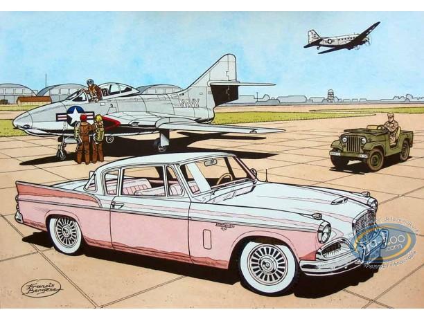 Aquarelle, Buck Danny : Studebaker 57 (pink)