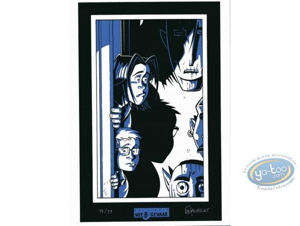 Bookplate Serigraph, Mort de Trouille : Mauricet, Mort de trouille