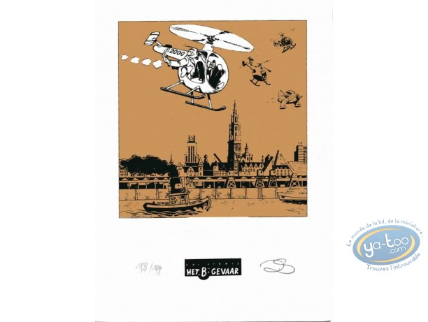 Bookplate Serigraph, Néron : The Helicoptere