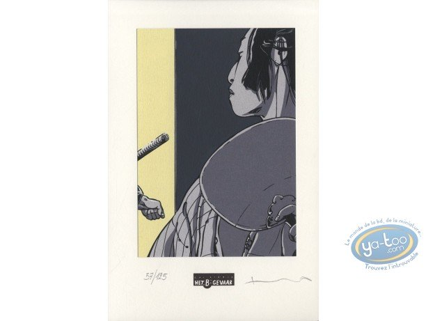 Bookplate Serigraph, Kogaratsu : Geisha's sideways