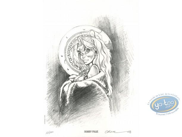 Bookplate Offset, Atalante : Atalante's portrait with a shield