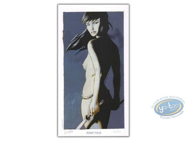 Bookplate Offset, Serment de l'Ambre (Le) : Woman with swords