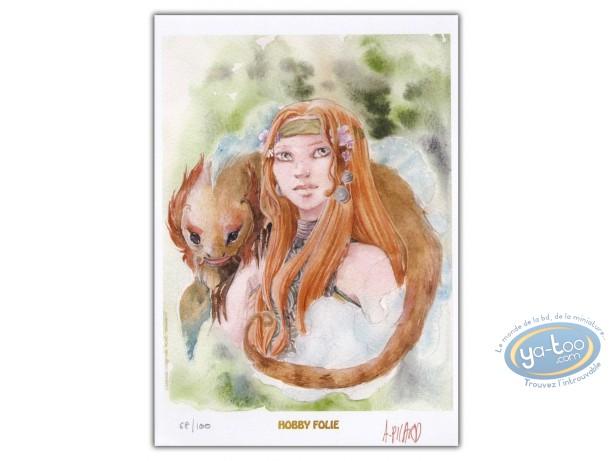 Bookplate Offset, Okhéania : Young girl & animal