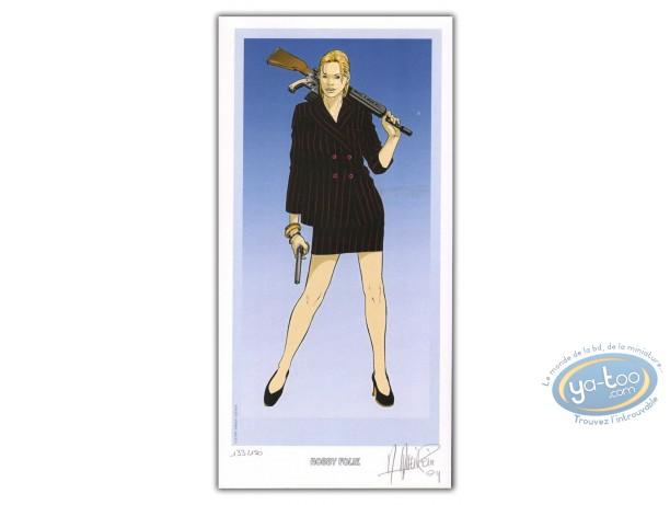 Bookplate Offset, Celadon Run : Woman with guns