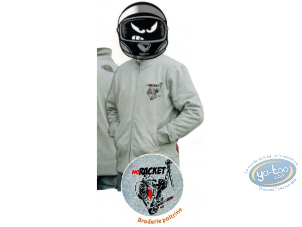 Clothes, Même pas Peeur : Zipped sweat: NO RACKET grey ash - XXL