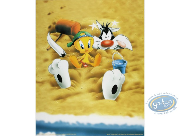 Offset Print, Titi : Tweety & Sylvester in the sand 50X40 cm