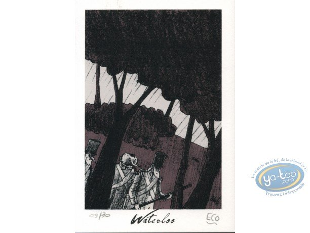 Bookplate Serigraph, Waterloo : Soldiers in the forest