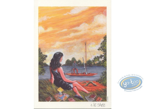 Bookplate Offset, Woman by the river
