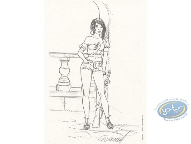 Bookplate Offset, Vénus H : Woman with gun b&w